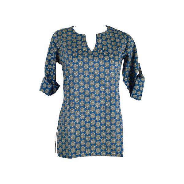 Blouse Kuhi Coton Imprimé Ethnique Bleu
