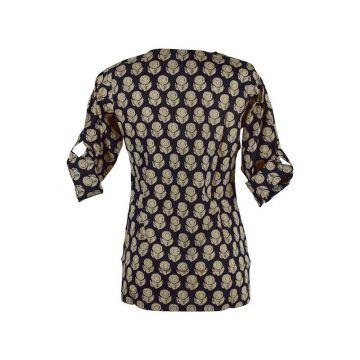 Blouse Kuhi Coton Imprimé Gulab Ethnique Noir