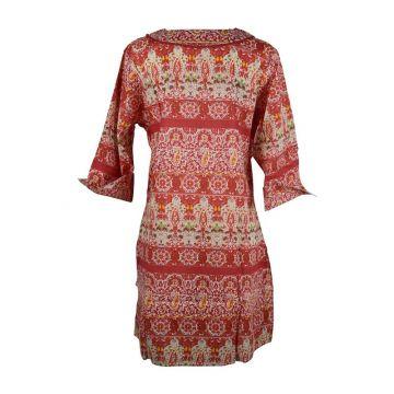 Caftan Sardha Coton Multicolore Ton Rouge