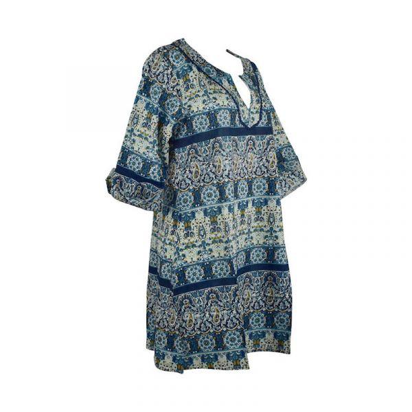 Caftan Sardha Coton Multicolore Ton Bleu Marine
