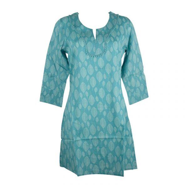 Caftan Sardha Coton Multicolore Ton Turquoise