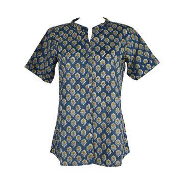 Chemisier Naya Coton Bleu Imprimé Floral