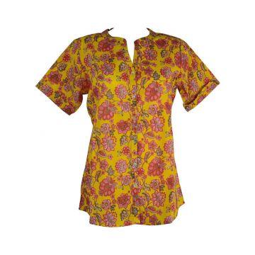 Chemisier Naya Coton Jaune Imprimé Floral