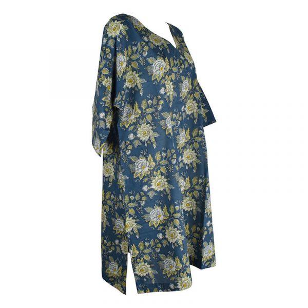 Caftan Jamari Coton Bleu Cobalt Imprimé Floral