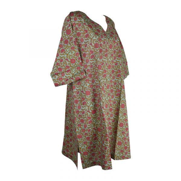 Caftan Jamari Coton Émeraude Imprimé Floral
