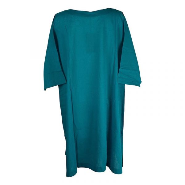 Caftan Korasi Coton Khadi Uni Bleu Pétrole