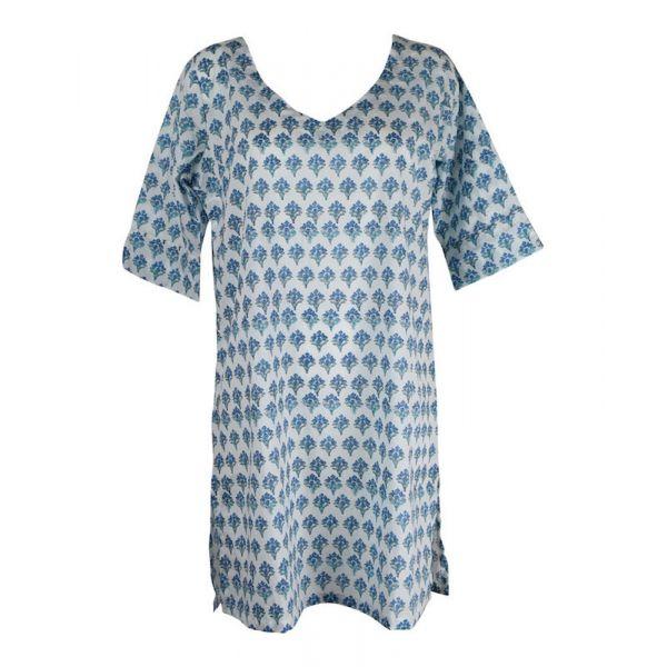 Tunique Tilda Coton Bleu Imprimé Ethnique