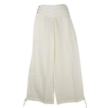 Pantalon Femme Naricha Coton Uni Blanc