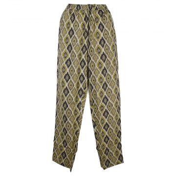 Pantalon Wani Coupe Droite Coton Imprimé Beige