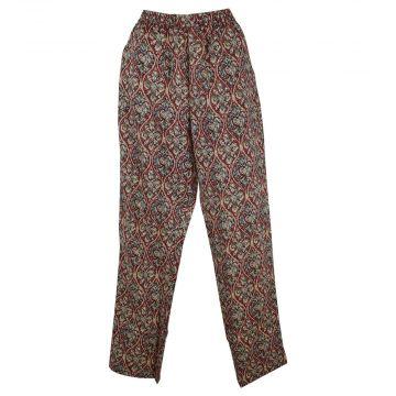 Pantalon Wani Coupe Droite Coton Imprimé Bordeaux