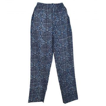 Pantalon Wani Coupe Droite Coton Imprimé Indigo