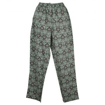 Pantalon Wani Coupe Droite Coton Imprimé Vert d'eau