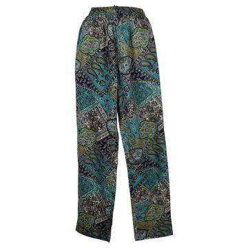 Pantalon Joda Fluide Imprimé Paisley Ton Bleu