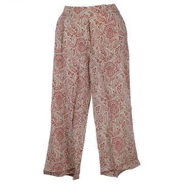 Pantalon Seoni Coupe Large Paisley Rouge