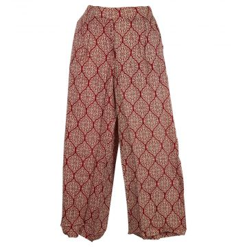 Pantalon Seoni Coupe Large Imprimé Ethnique Bordeaux