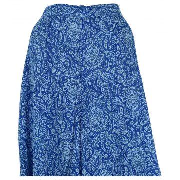 Pantalon Katol Large Imprimé Cachemire Bleu.