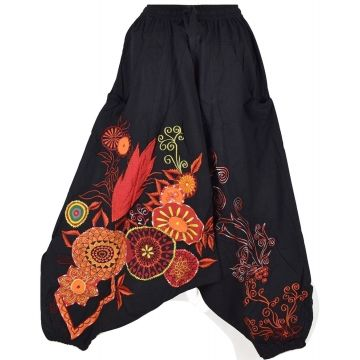 Sarouel Femme Ethnique Bhujari Broderie Floral Orange