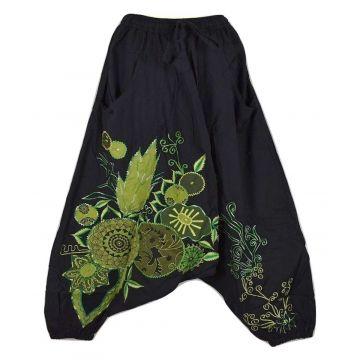 Sarouel Ethnique Femme Bhujari Broderie Floral Vert