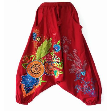 Sarouel Femme Broderies Ethniques Rouge
