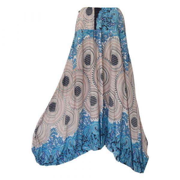 Sarouel Trois en Un Bahali Imprimé Rosace Turquoise