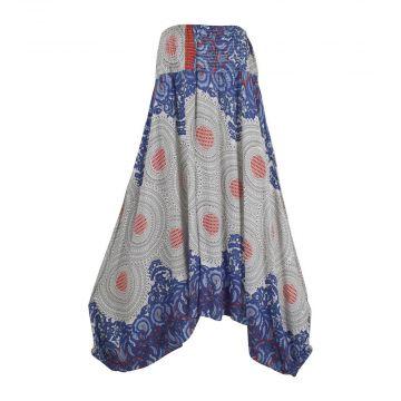 Sarouel Trois en Un Bahali Imprimé Rosace Bleu