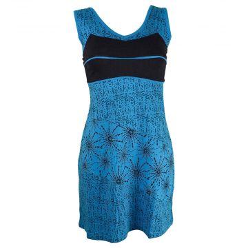 Robe Courte Sakti Jersey Imprimé Turquoise