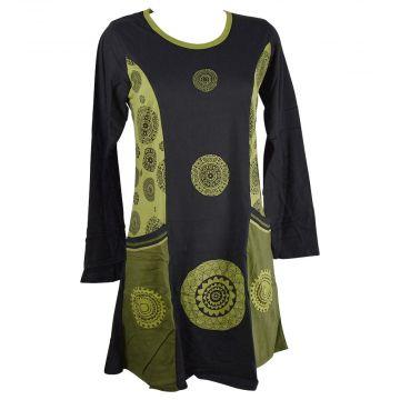 Robe Tunique Longue Jersey Mandalas Vert et Noir