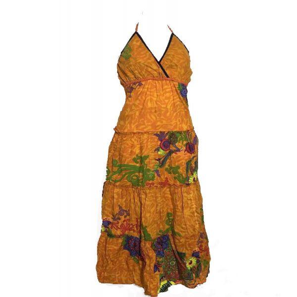 Robe Longue Coton d'été imprimé Orange