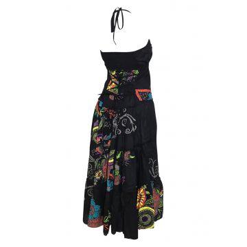 Robe Longue Coton d'été imprimé Noir