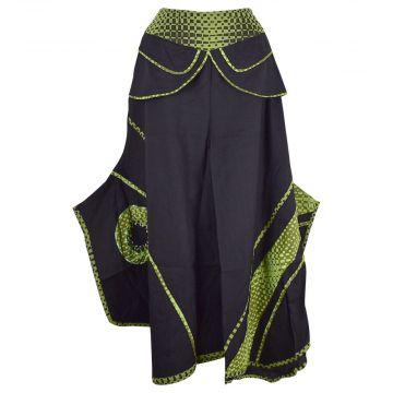 Jupe Culotte Ethnique Balpar Coton Noir et Vert