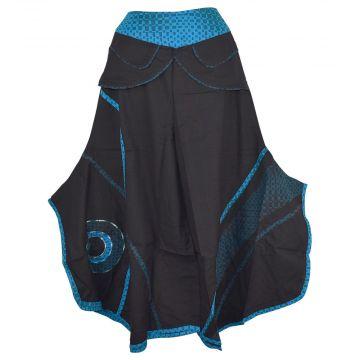 Jupe Culotte Ethnique Balpar Coton Noir et Bleu