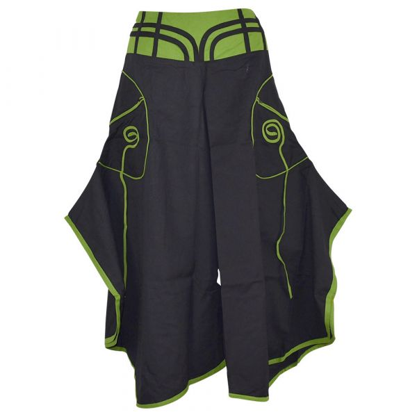 Jupe Culotte Uska Poche Spirale Coton Noir et Vert