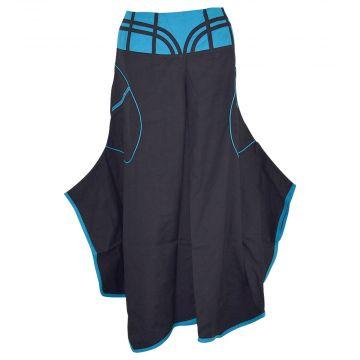 Jupe Culotte Uska Évasée Coton Artisanal Noir et Bleu
