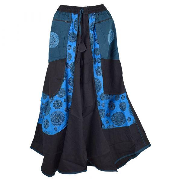 Jupe Culotte Chaita Imprimé Ethnique Ton Bleu