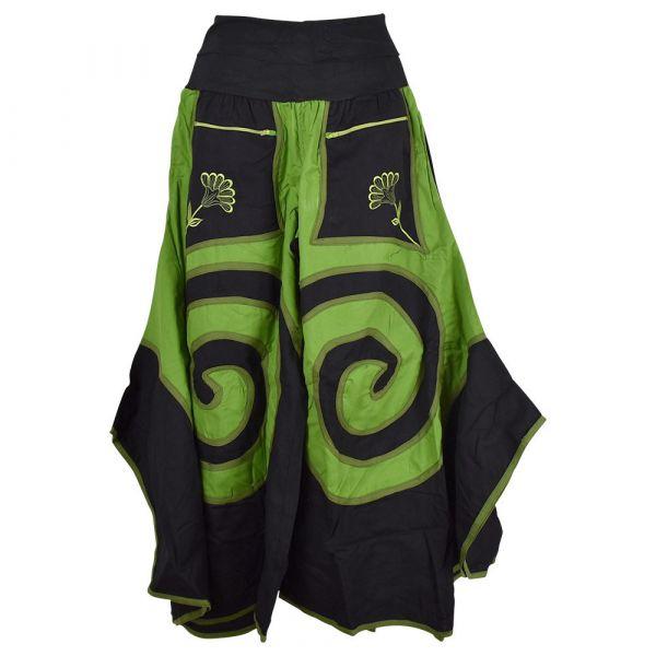 Jupe Culotte Juhafar Grandes Spirales Ton Noir et Vert