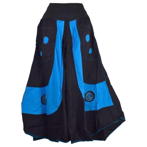 Jupe Culotte Mudali Ceinture Lycra coton Noir et Bleu