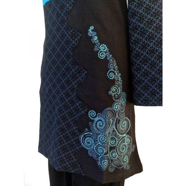 Tunique Sonama Jersey Noir et Turquoise
