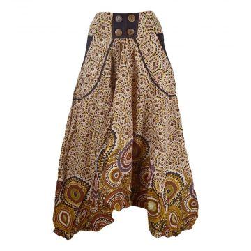 Sarouel Daulha Ample Coton Fin Imprimé Marron