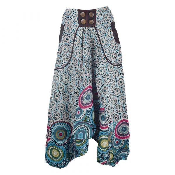 Sarouel Daulha Ample Coton Fin Imprimé Turquoise