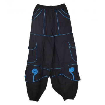 Pantalon Sarila ethnique Noir et liseré Turquoise