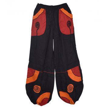 Pantalon Mixte Sarouel Satna Ethnique Noir et Rouge