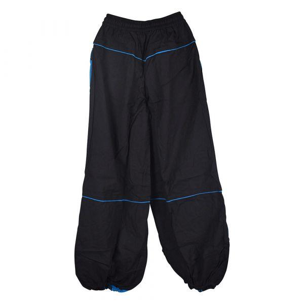 Pantalon Femme Ethnique Satna Noir et Turquoise