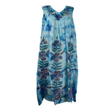 Robe Dewana Esprit Floral Peint Moucheté Bleu