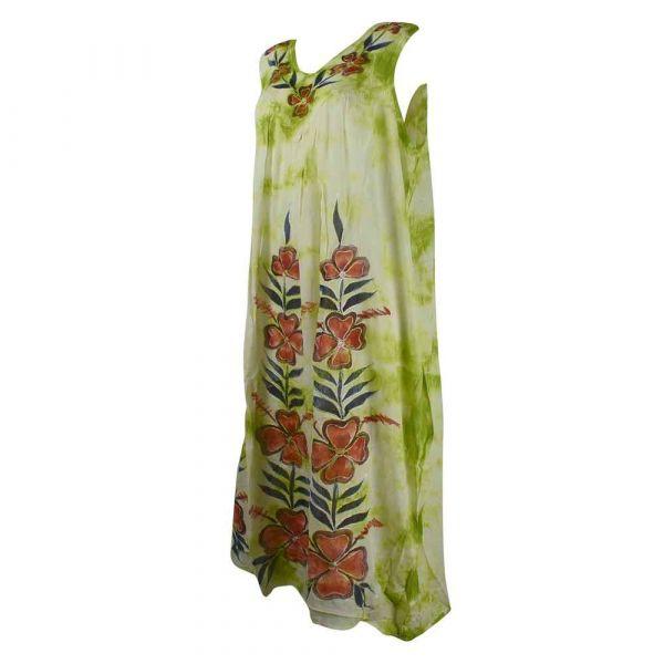 Robe Dewana Esprit Floral Peint Moucheté Anis