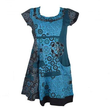 Tunique Shataly Imprimé Ethnique Turquoise