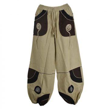 Pantalon Détente Satna Écru et Chocolat avec Spirales