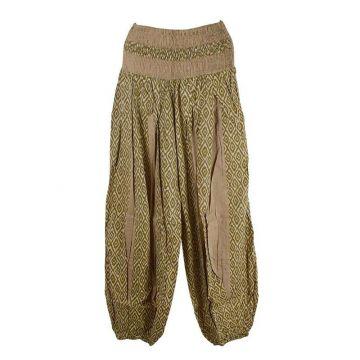 Pantalon Été Sunda Coton Imprimé Beige