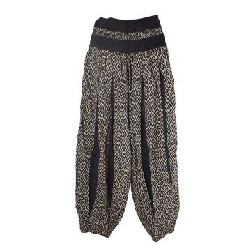 Pantalon Été Sunda Coton Imprimé Noir