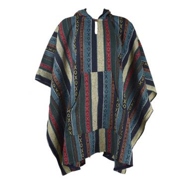 Poncho Homme Jahadi Coton Épais Ton Bleu