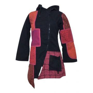 Manteau Femme Ethnique Souria Noir et Rouge